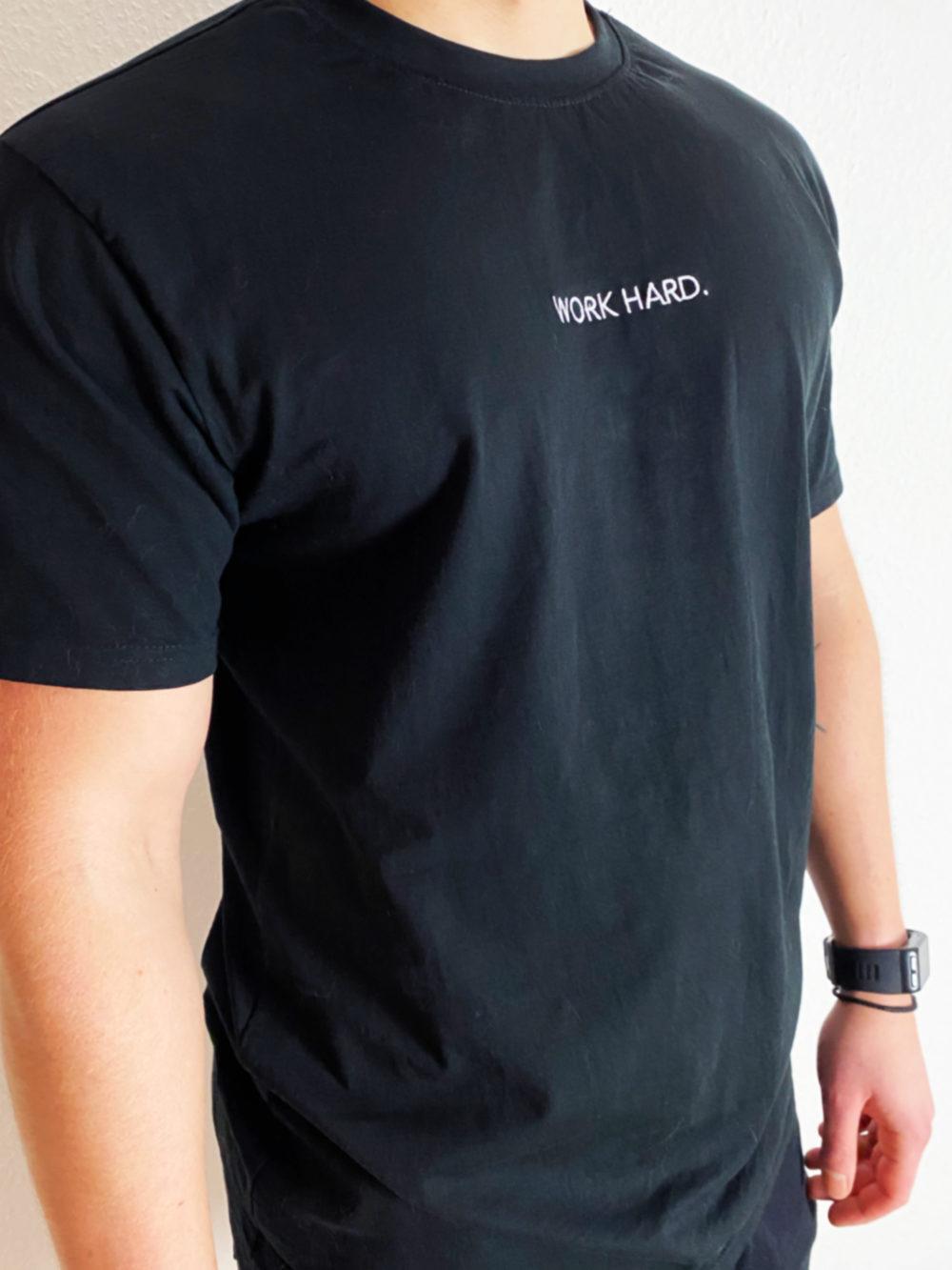 oversize Shirt Männer Stick Statement Work hard