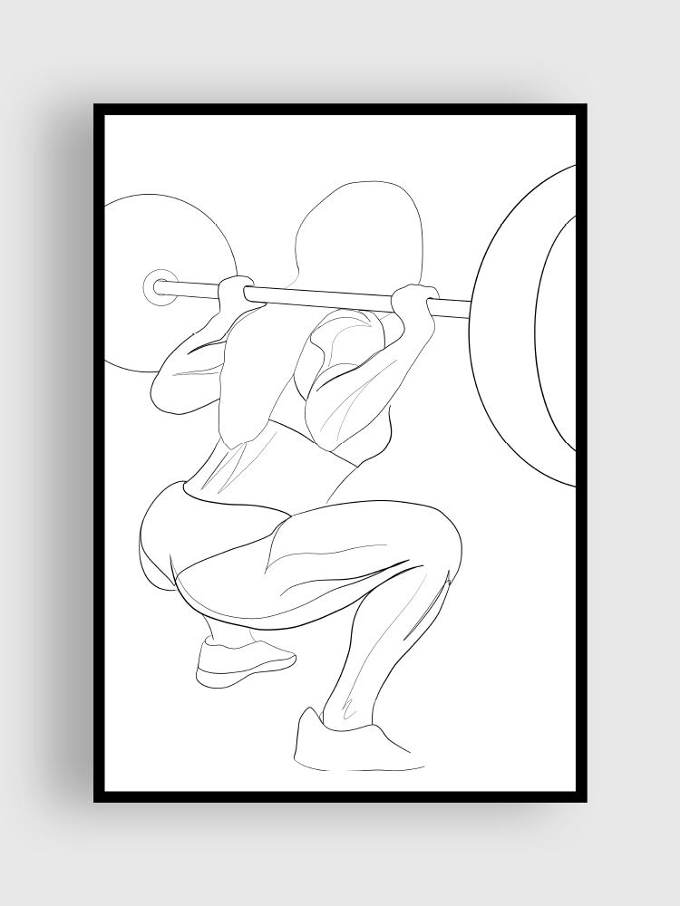 one line Poster squat