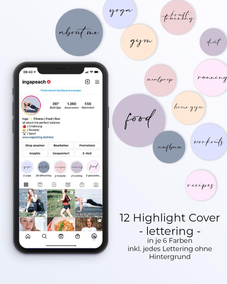 Instagram Highlight Cover blau-rosa