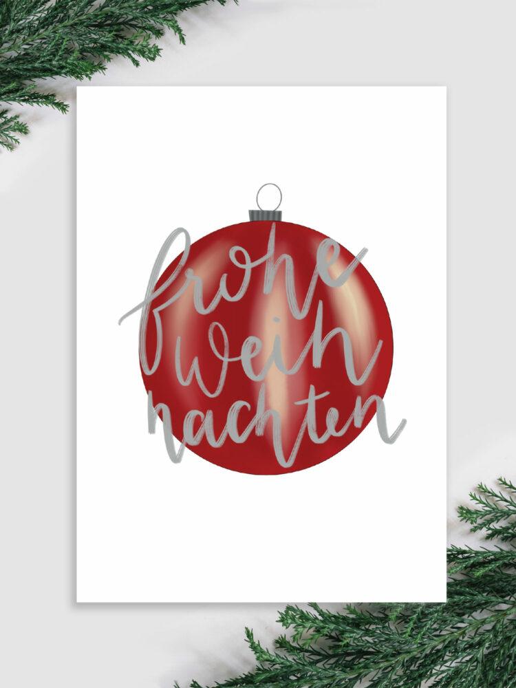 Weihnachtskarte lettering frohe weihnachten