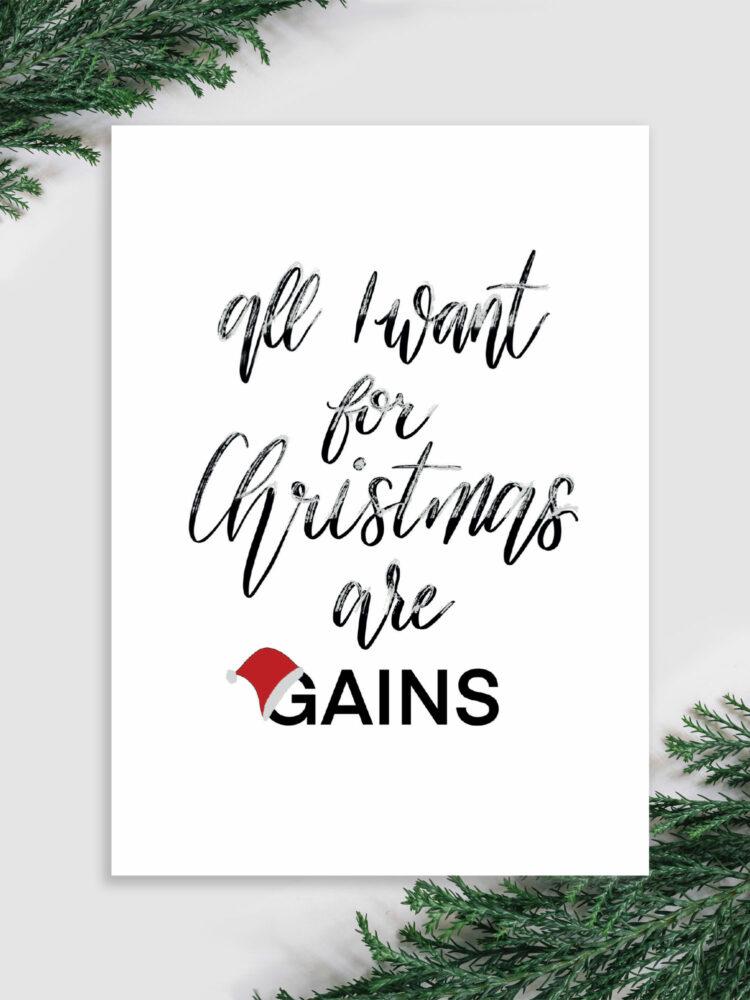 fitness Weihnachtskarte gains